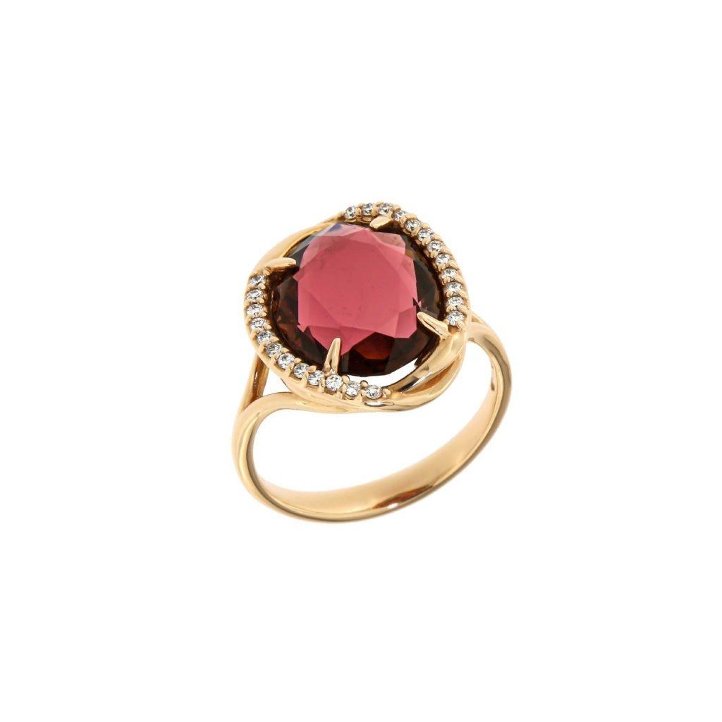 Anello in oro rosé 18 kt con tormalina rosa e brillanti