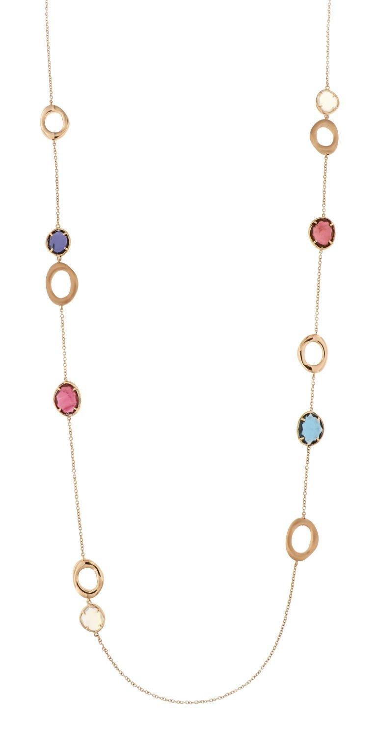 Collana in oro rosé 18 kt con tormalina rosa, opale, topazio London blu, iolite e quarzo girasole lilla