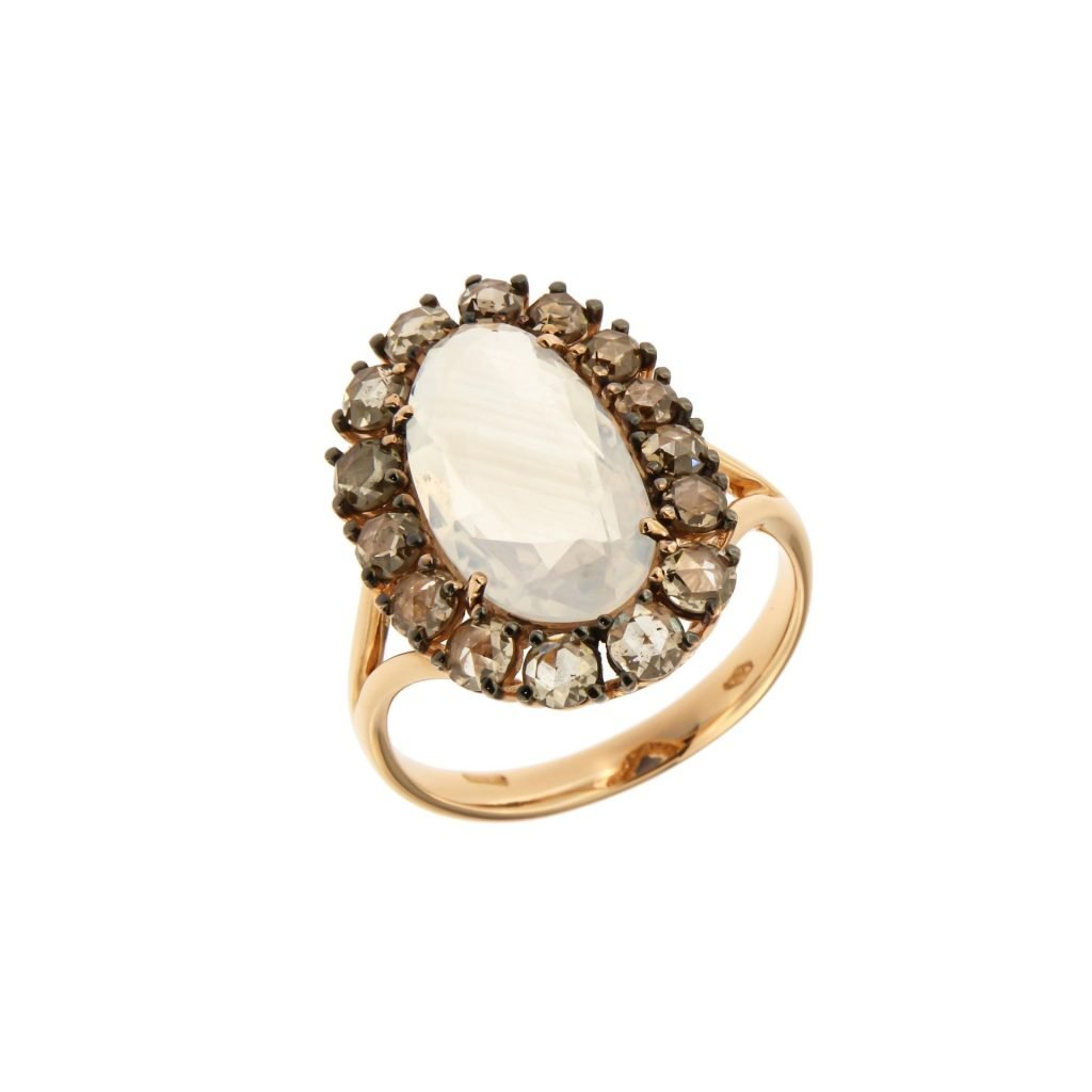 pink gold ring with brown diamonds and opal