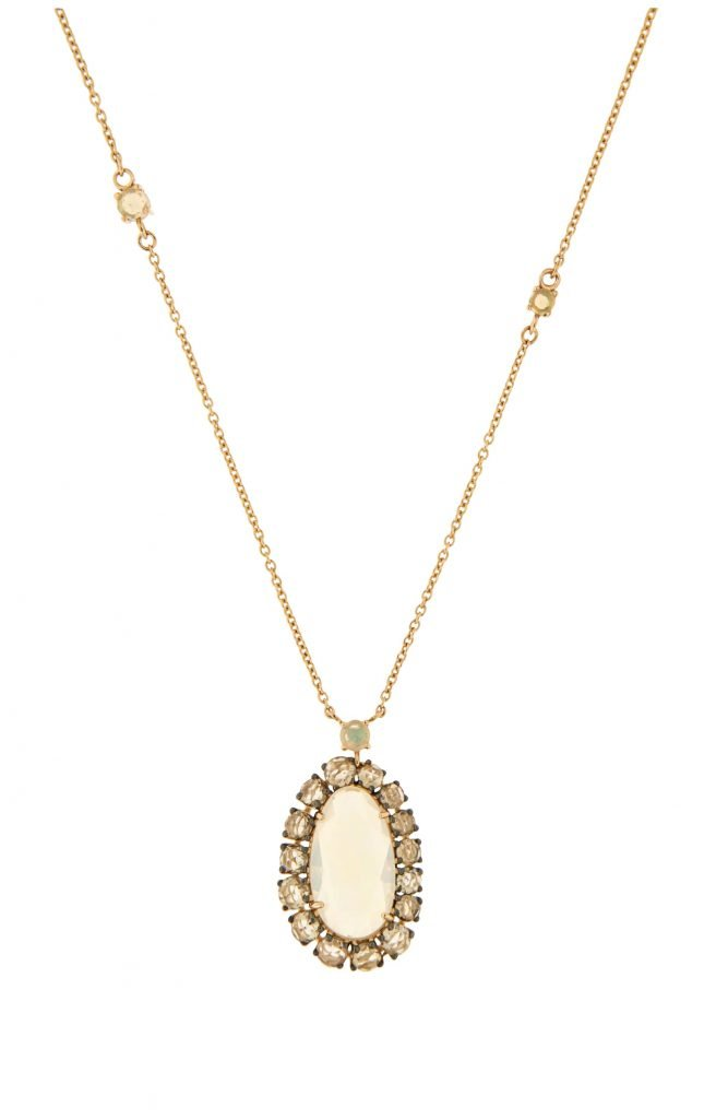 pink gold pendant with brown diamonds