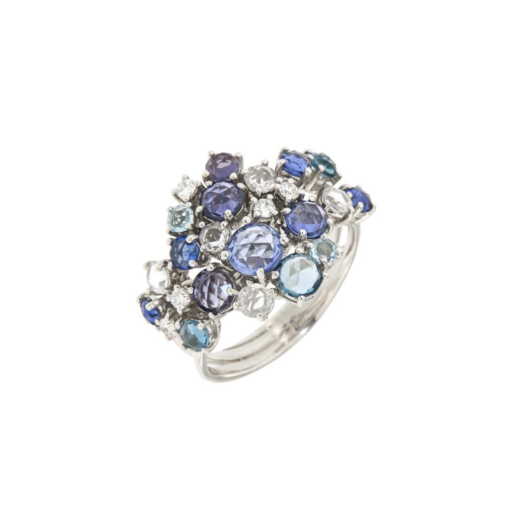 white gold ring with blue and white sapphire, toapz and diamonds