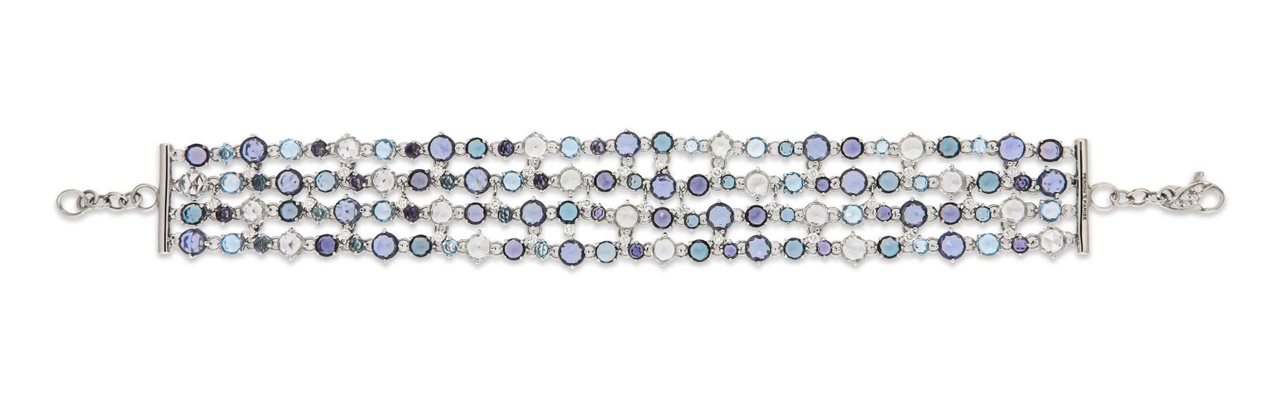 white gold bracelet with blue and white sapphire, toapz and diamonds