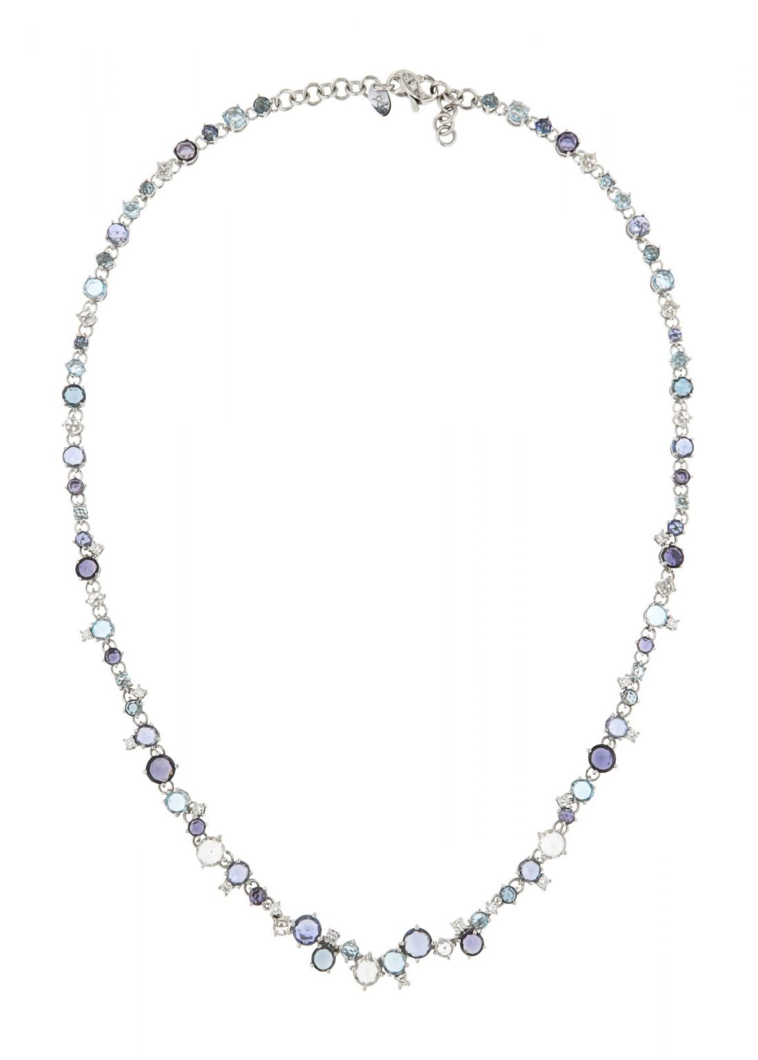 18 kt white gold necklace with blue and white sapphire, toapz and diamonds