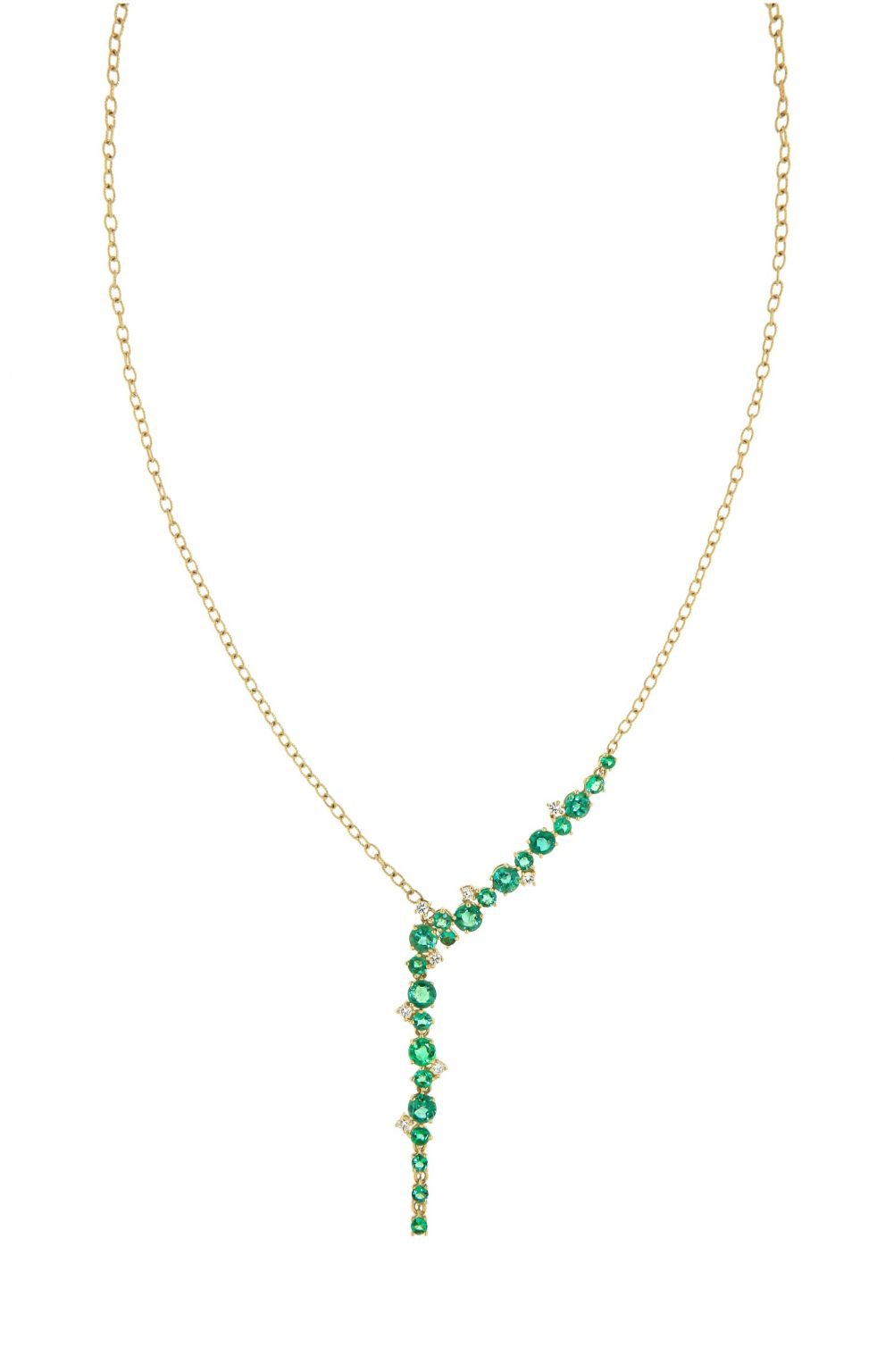yellow gold necklace with emeralds