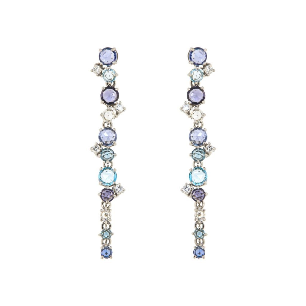 white gold earrings with blue and white sapphire