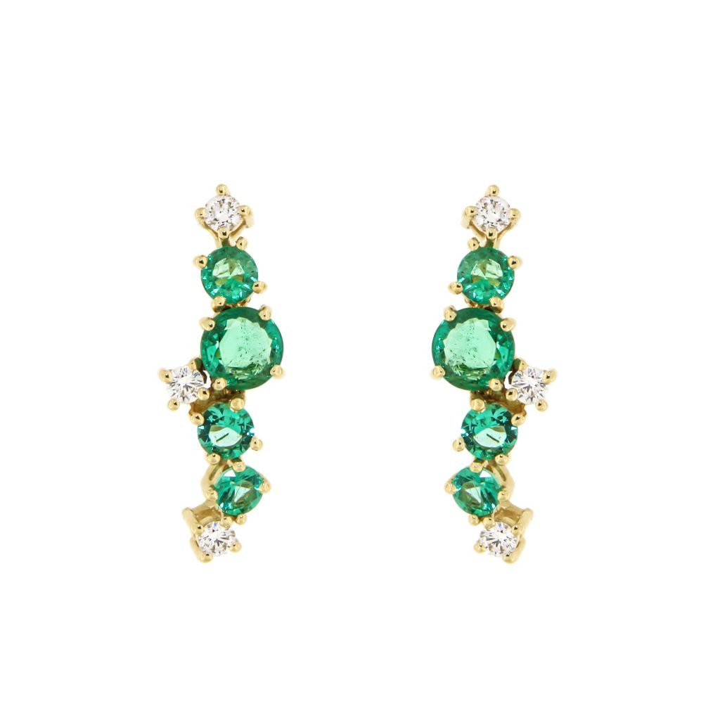 yellow gold earrings with emeralds