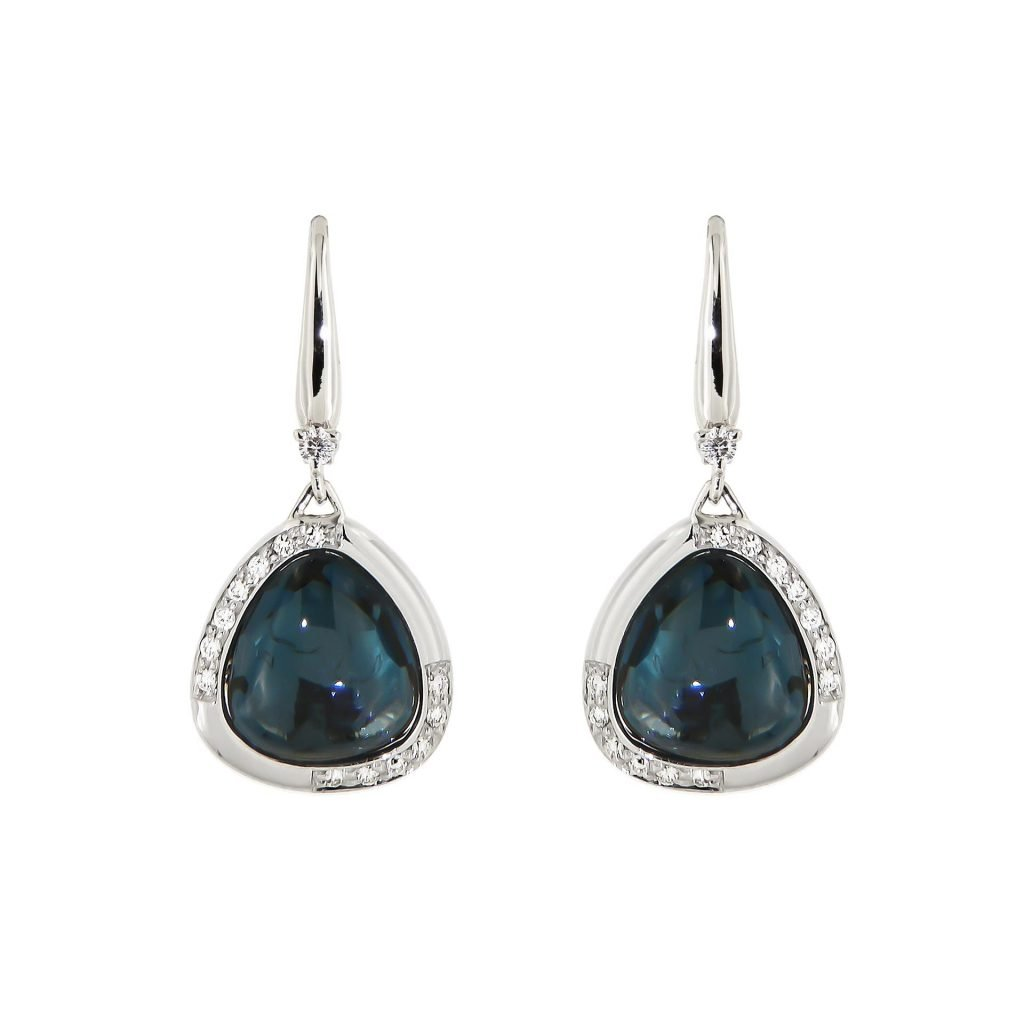 white gold earrings with London blue topaz and diamonds
