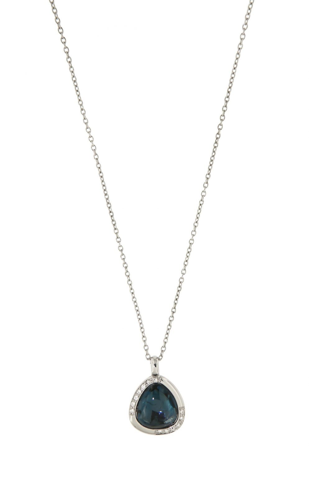 white gold pendant with London blue topaz and diamonds