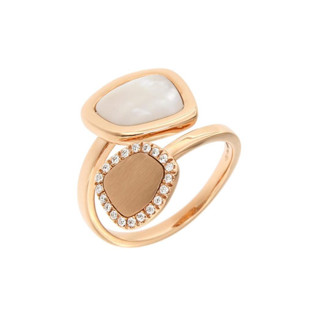 pink gold ring with white mother of pearl