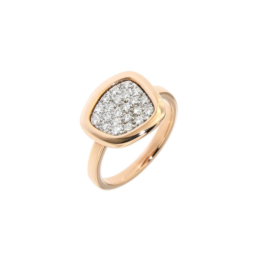 pink gold ring with diamonds
