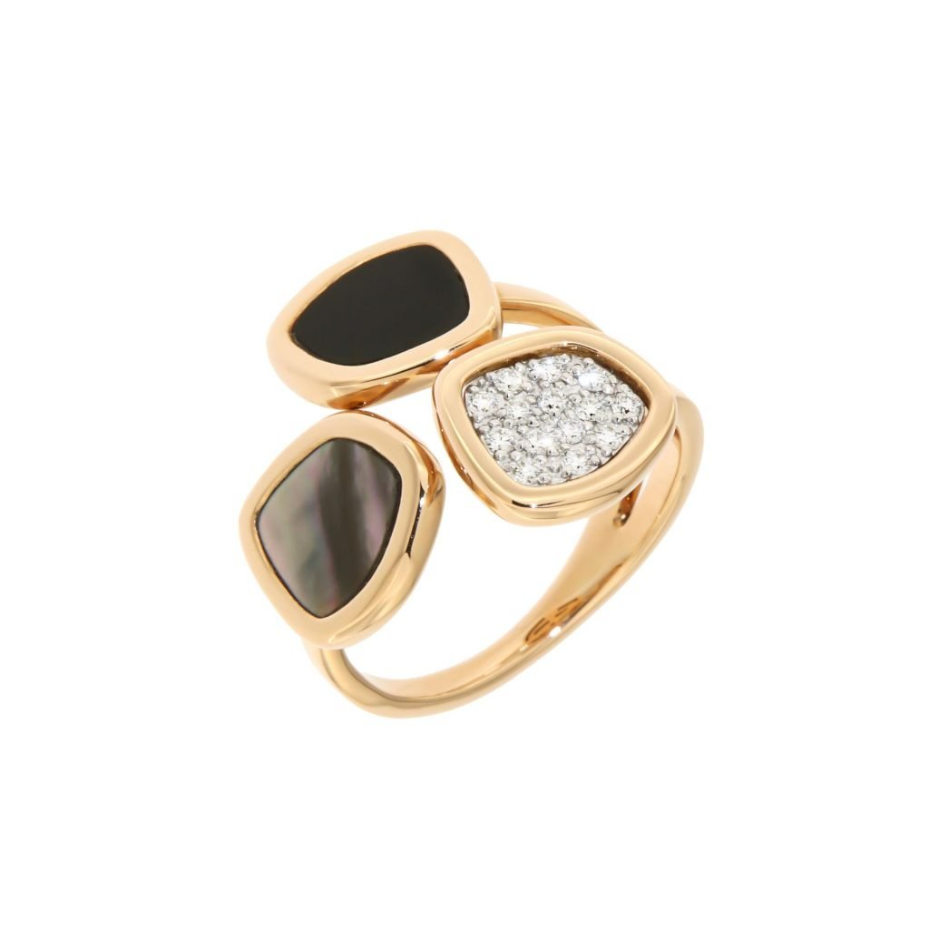 pink gold ring with grey mother of pearl