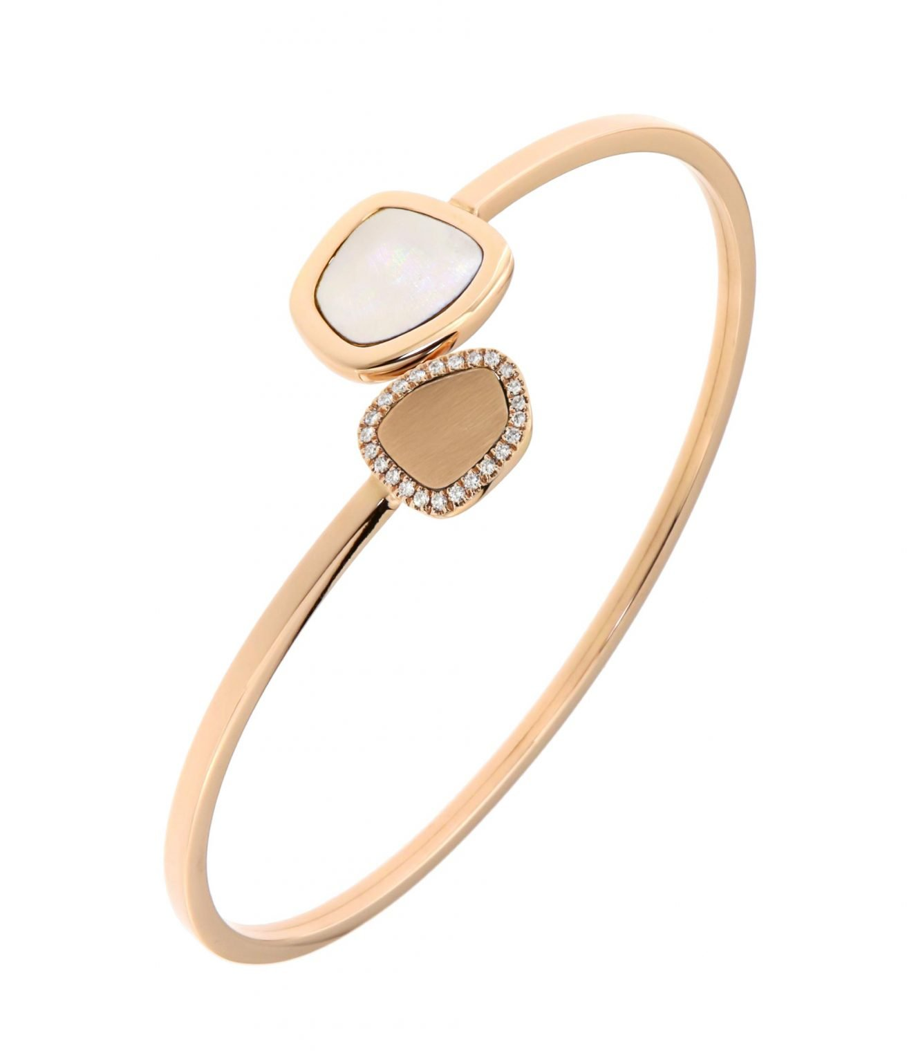 pink gold bracelet with white mother of pearl