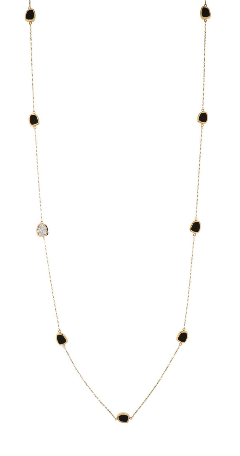 pink gold necklace with jet and diamonds