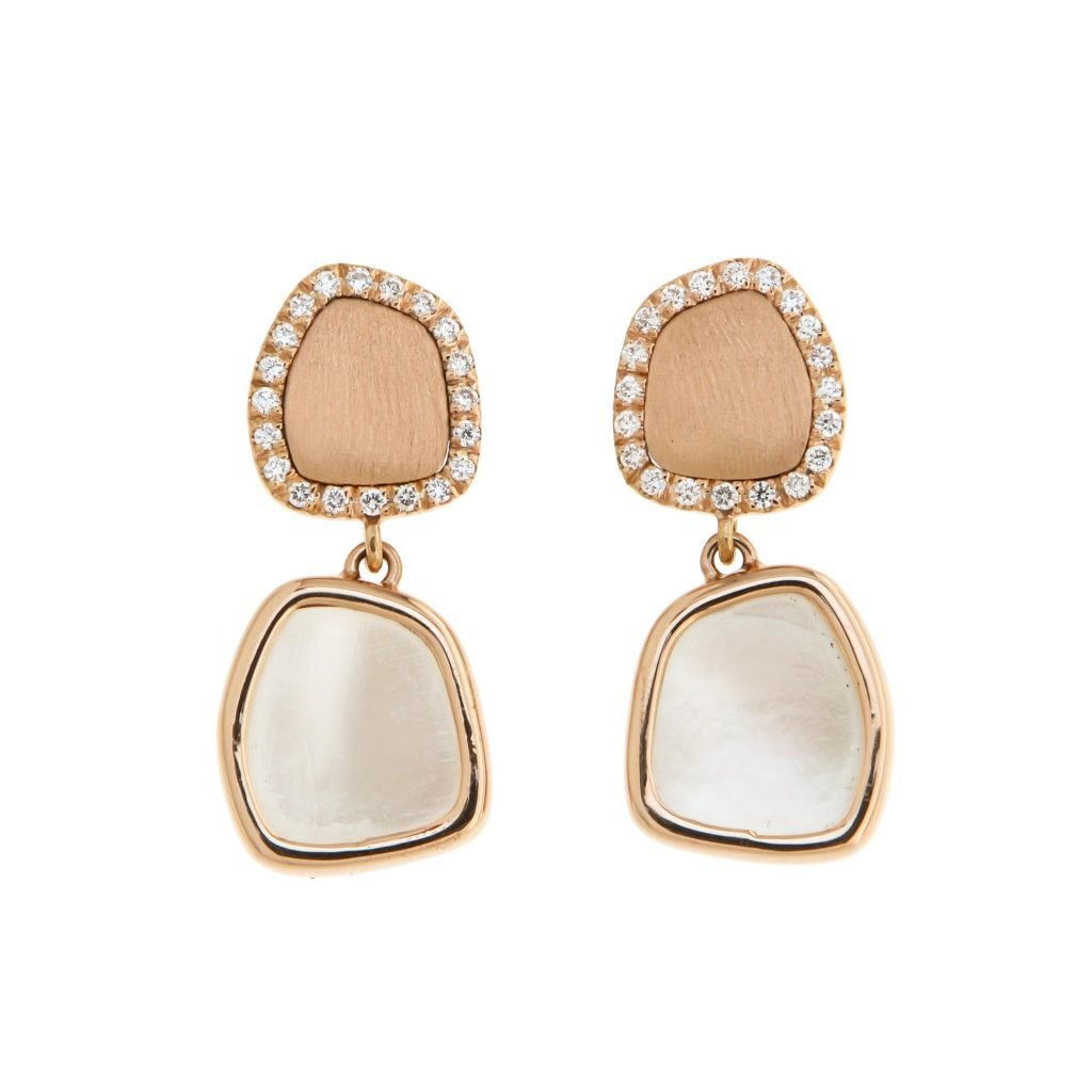 18 kt pink gold earrings with white mother of pearl