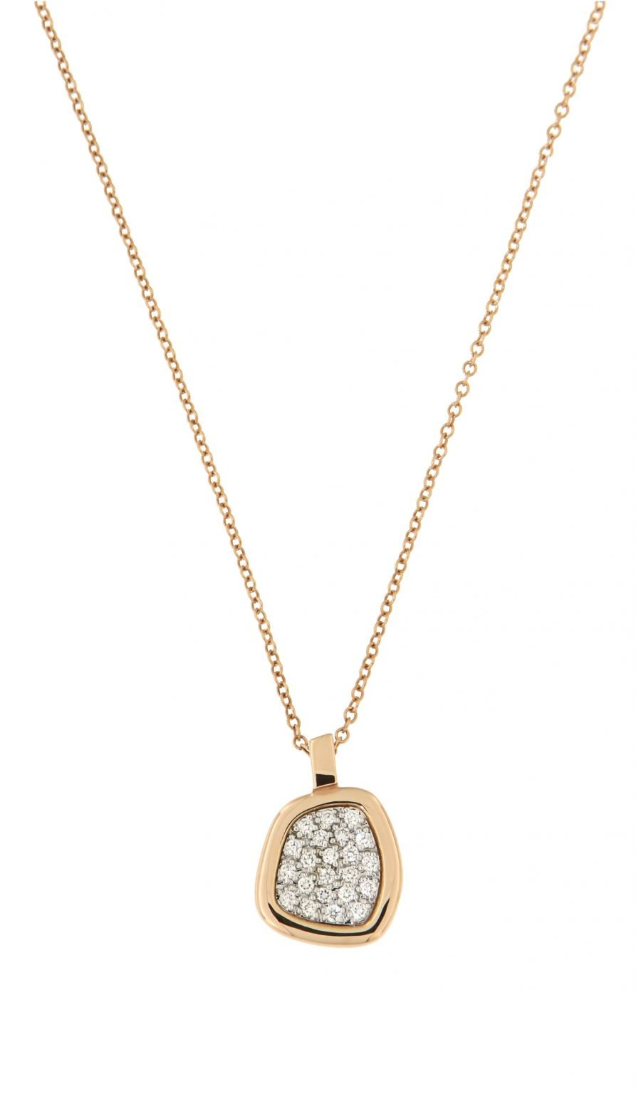 pink gold pendant with diamonds