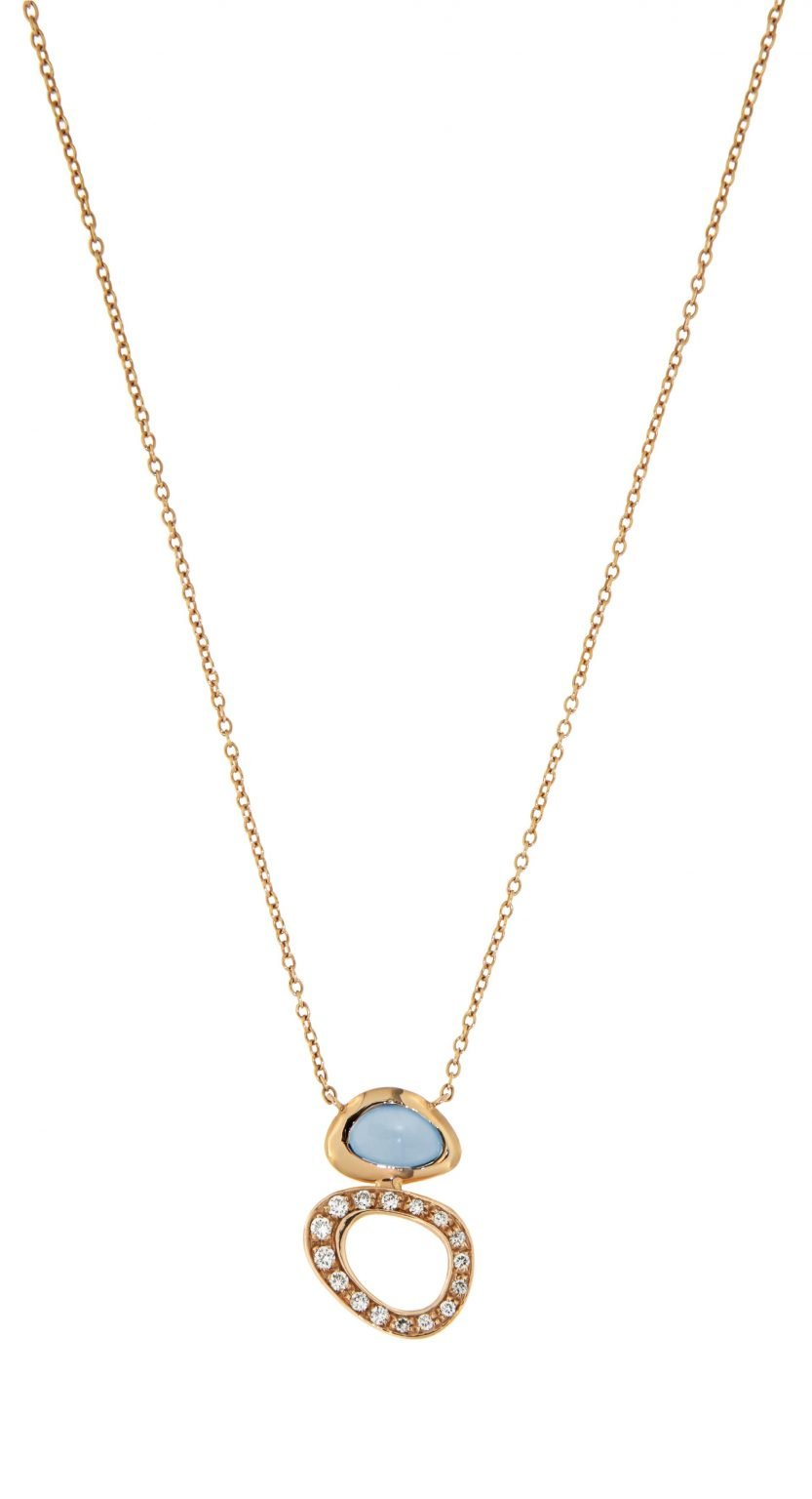 18 kt pink gold pendant with London blue topaz